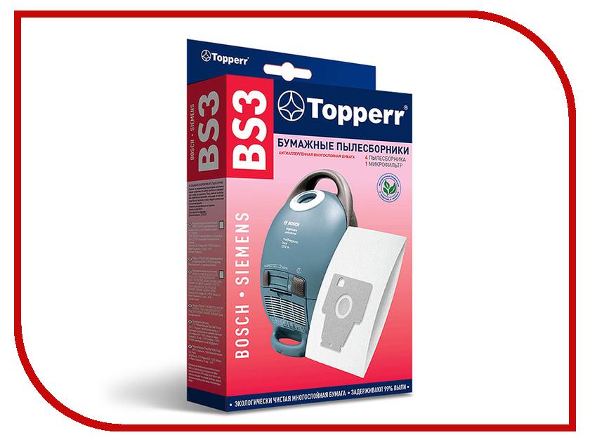 Пылесборники бумажные Topperr BS 3 5шт + 1 микрофильтр для Bosch / Siemens микрофильтр topperr fex 1