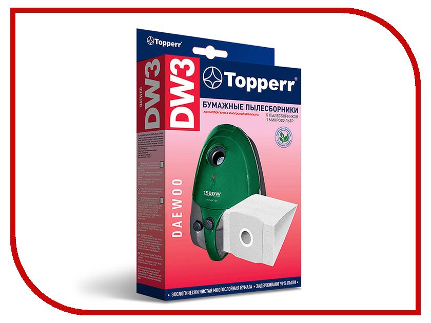 Пылесборники бумажные Topperr DW 3 5шт + 1 микрофильтр для Daewoo тарелка ariko dg dw 603 3