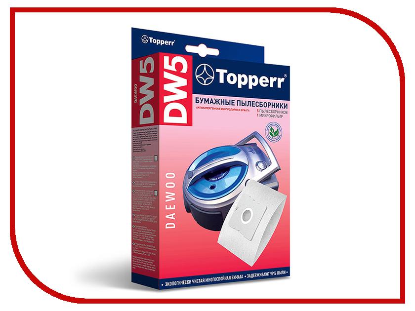 Пылесборники бумажные Topperr DW 5 5шт + 1 микрофильтр для Daewoo средство для удаления накипи topperr 3015