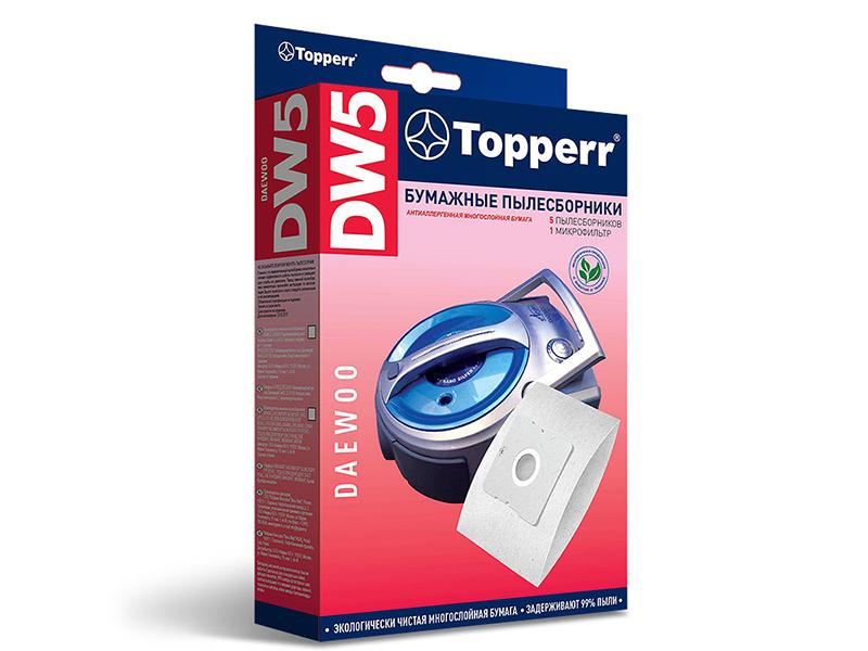 Пылесборники бумажные Topperr DW 5 5шт + 1 микрофильтр для Daewoo