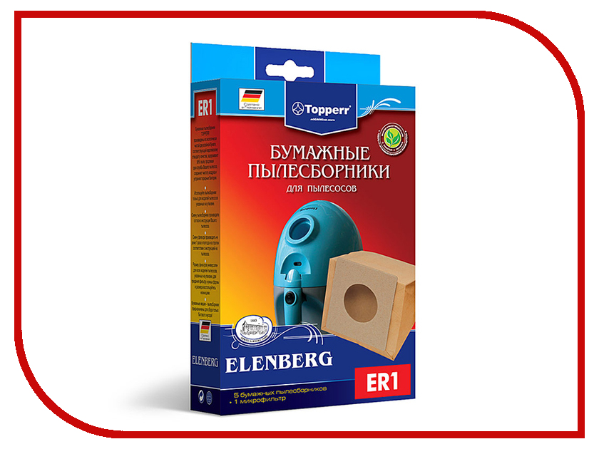 Пылесборники бумажные Topperr ER 1 5шт + 1 микрофильтр для Elenberg микрофильтр topperr fex 1