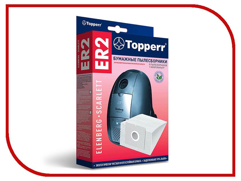 Пылесборники бумажные Topperr ER 2 5шт + 1 микрофильтр для Cameron / Elenberg / Bork / Rowenta / Vitek / Scarlett / Hoover / Bimatek / Trony / Atlanta topperr er 1
