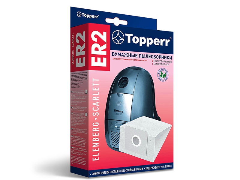 Пылесборники бумажные Topperr ER 2 5шт + 1 микрофильтр для Cameron / Elenberg Bork Rowenta Vitek Scarlett Hoover Bimatek Trony Atlanta