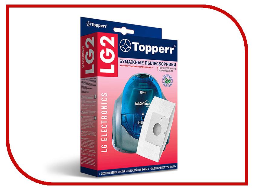Пылесборники бумажные Topperr LG 2 5шт + 1 микрофильтр для LG микрофильтр topperr fex 1