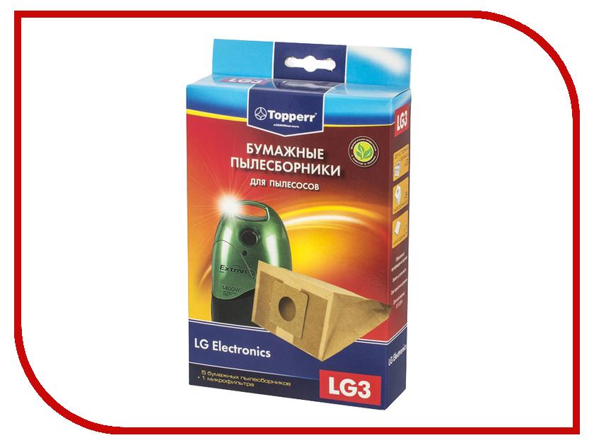 Пылесборники бумажные Topperr LG 3 5шт + 1 микрофильтр для LG / Rowenta / Moulinex средство для удаления накипи topperr 3015