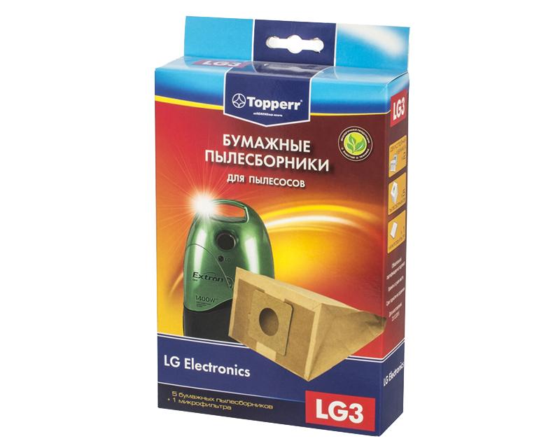 Пылесборники бумажные Topperr LG 3 5шт + 1 микрофильтр для / Rowenta Moulinex