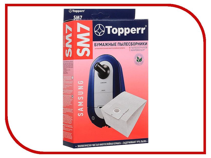 Пылесборники бумажные Topperr SM 7 5шт + микрофильтр для Samsung topperr 1406 sm 70
