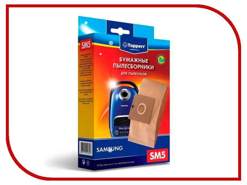 Пылесборники бумажные Topperr SM 5 5шт для LG / Rolsen / Samsung / Karcher / Vigor / Hitachi rolsen rbm214mur