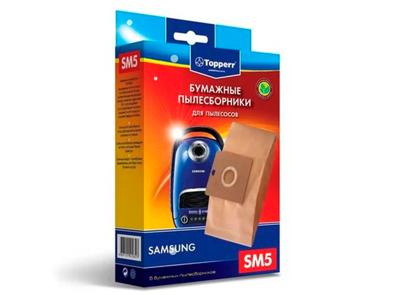 Пылесборники бумажные Topperr SM 5 5шт для LG / Rolsen / Samsung / Karcher / Vigor / Hitachi rolsen rolsen s 800