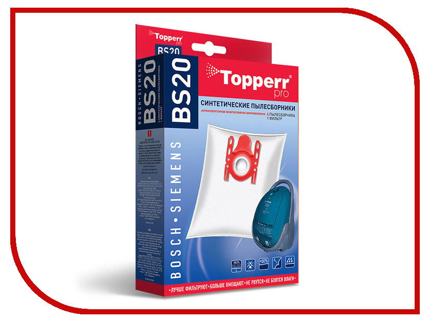 Пылесборники синтетические Topperr BS 20 4шт + 1 фильтр для Bosch / Siemens topperr bs 3 фильтр для пылесосов bosch siemens 4 шт