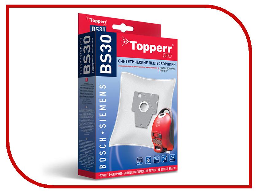 Пылесборники синтетические Topperr BS 30 4шт + 1 фильтр для Bosch / Siemens topperr bs 3 фильтр для пылесосов bosch siemens 4 шт
