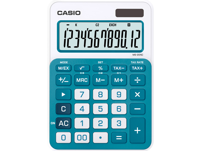 Калькулятор Casio MS-20NC-BU-S-EC калькулятор casio ms 20uc lb s ec 12 разрядный светло голубой