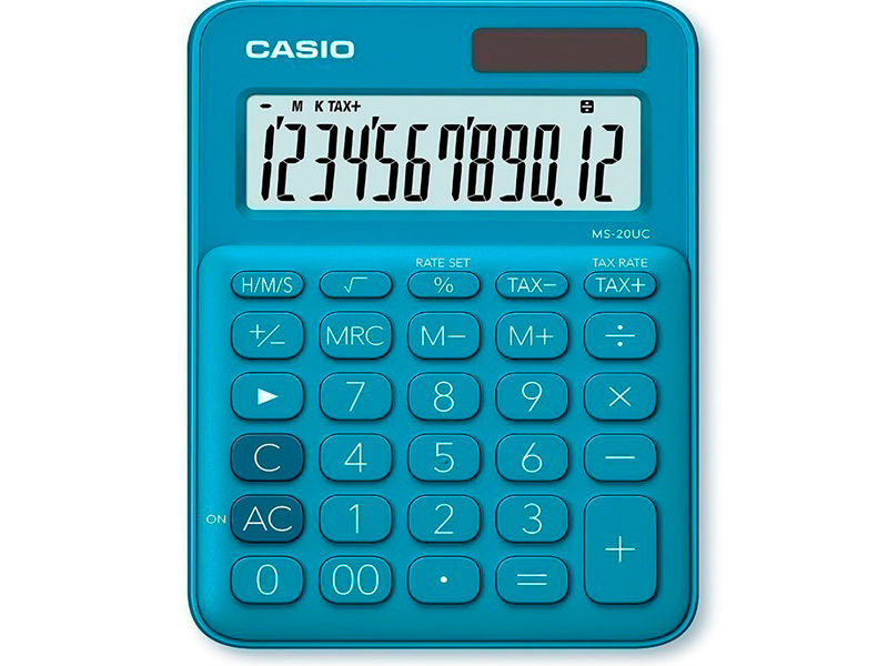 Калькулятор Casio MS-20UC-BU-S-EC калькулятор casio ms 20uc pk s uc 12 разрядный розовый