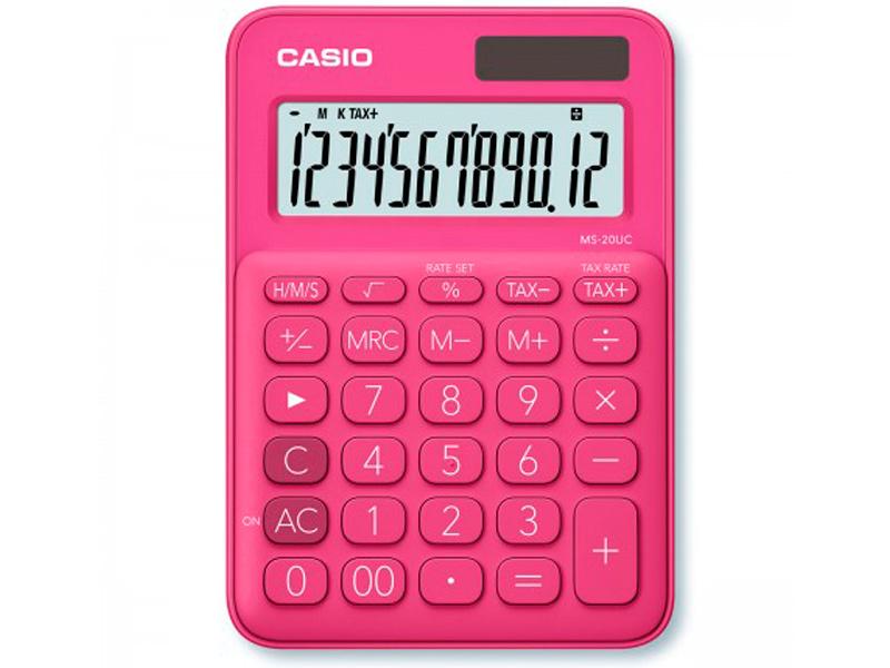 Калькулятор Casio MS-20UC-RD-S-EC калькулятор casio ms 20uc pk s uc 12 разрядный розовый