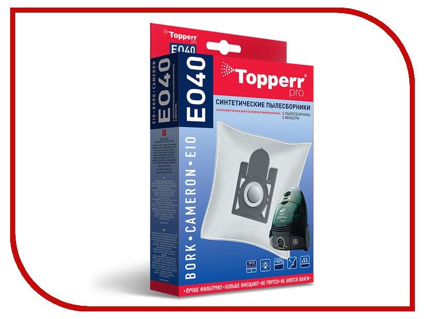 Пылесборники синтетические Topperr EO 40 4шт + 2 фильтра для Bork / Cameron дефлектор капота mitsubishi капота pajero sport 2008 серия art графит