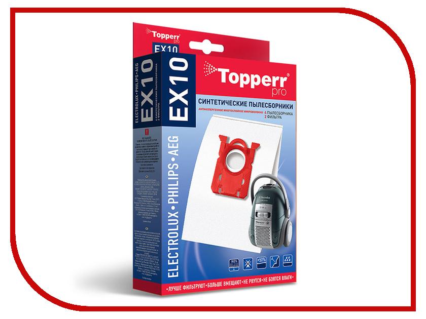 Пылесборники синтетические Topperr EX 10 4шт + 2 фильтра для Electrolux / Philips / Zanussi / Bork / Aeg пылесборник для сухой уборки topperr ex 1