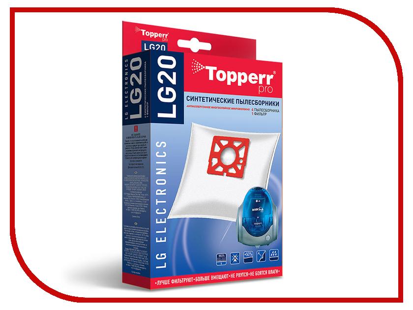Пылесборники синтетические Topperr LG 20 4шт + 1 фильтр для LG