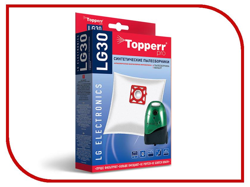 Пылесборники синтетические Topperr LG 30 4шт + 1 фильтр для LG / Rowenta / Moulinex topperr lg 2
