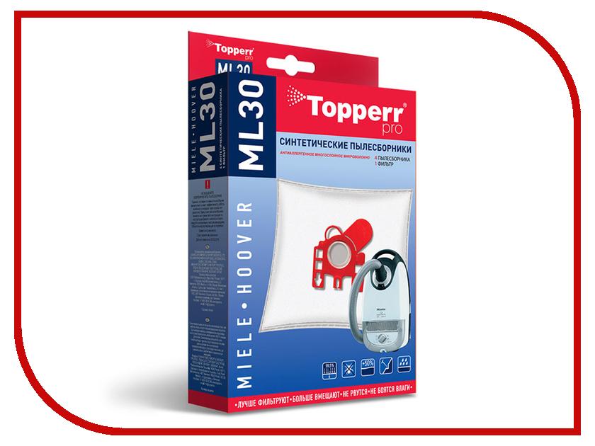цена на Пылесборники синтетические Topperr ML 30 4шт + 1 фильтр для Miele / Hoover