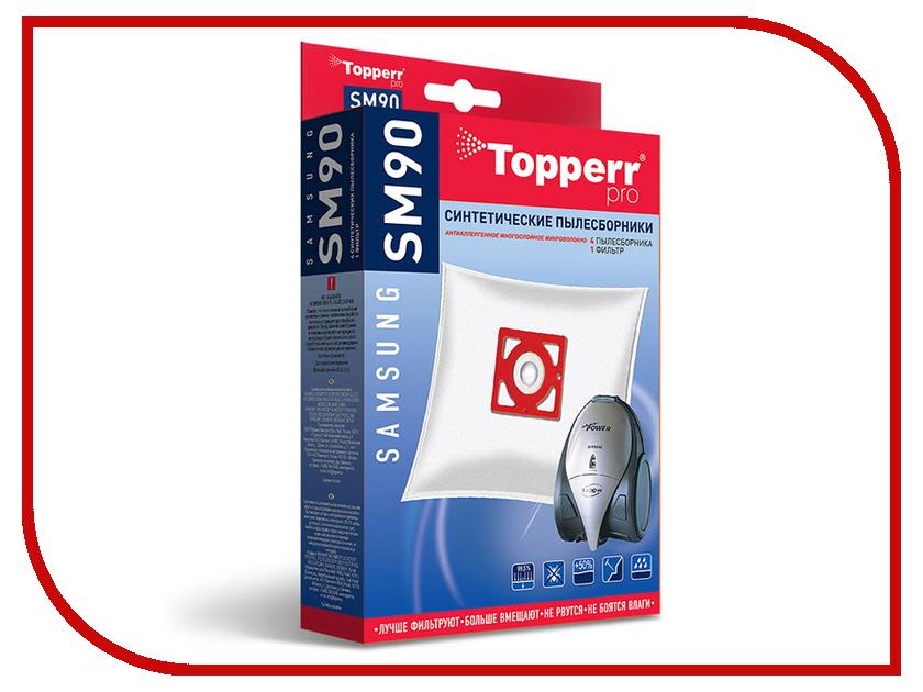 Пылесборники синтетические Topperr SM 90 4шт + 1 фильтр для Samsung topperr 1406 sm 70