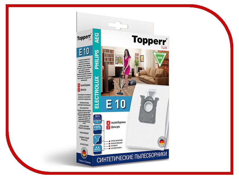 Пылесборники синтетические Topperr Lux Е 10 4шт + 2 фильтра для Aeg / Electrolux средство для удаления накипи topperr 3015