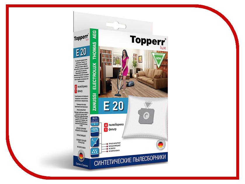 Пылесборники синтетические Topperr Lux Е 20 4шт + 1 фильтр для Aeg / Electrolux средство для удаления накипи topperr 3015