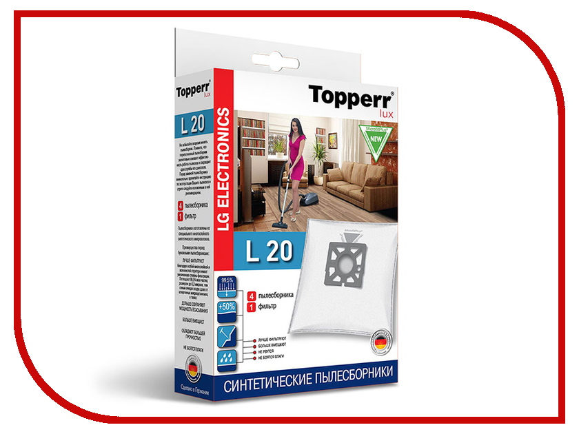 Пылесборники синтетические Topperr Lux L 20 4шт + 1 фильтр для LG / Electrolux