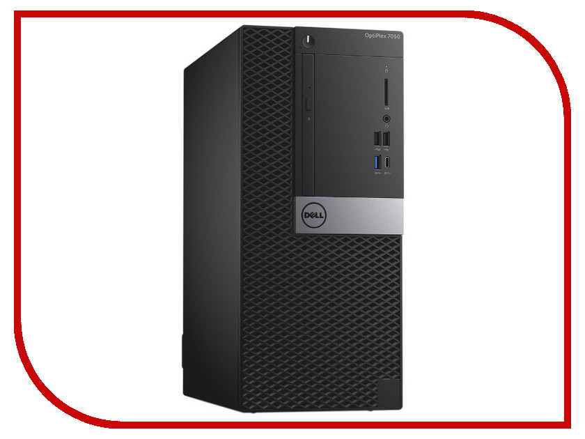 Настольный компьютер Dell OptiPlex 7050 MT Black-Silver 7050-4822 (Intel Core i5-6500 3.2 GHz/8192Mb/1000Gb/DVD-RW/AMD Radeon R5 430 2048Mb/Ethernet/Windows 10 Pro)
