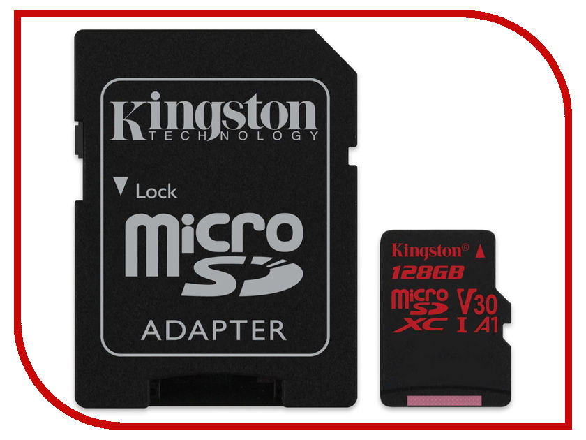 Карта памяти 128Gb - Kingston MicroSDXC U3 UHS-I V30 A1 Canvas React SDCR/128GB с переходником под SD цены онлайн