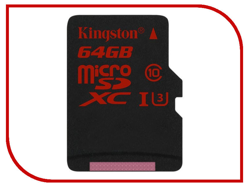 Карта памяти 64Gb - Kingston MicroSDHC U3 UHS-I V30 A1 Canvas React SDCR/64GBSP