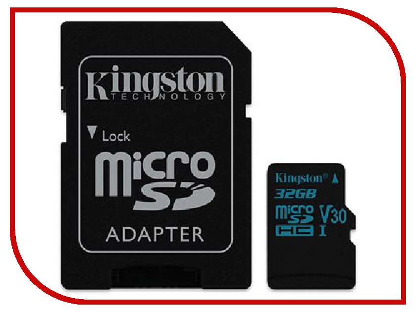 Карта памяти 32GB - Kingston microSDHC Canvas Go 90R/45W U3 UHS-I V30 Card + SD Adapter SDCG2/32GB long zipper purse men s business casual phone bag canvas hand clutch card package