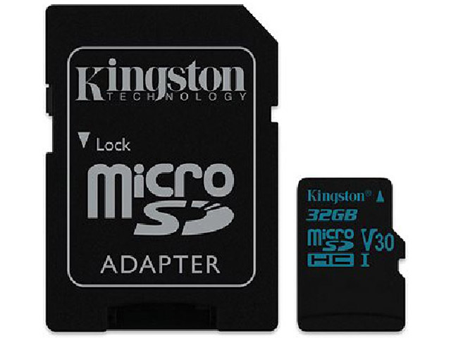 Карта памяти 32GB - Kingston microSDHC Canvas Go 90R/45W U3 UHS-I V30 Card + SD Adapter SDCG2/32GB