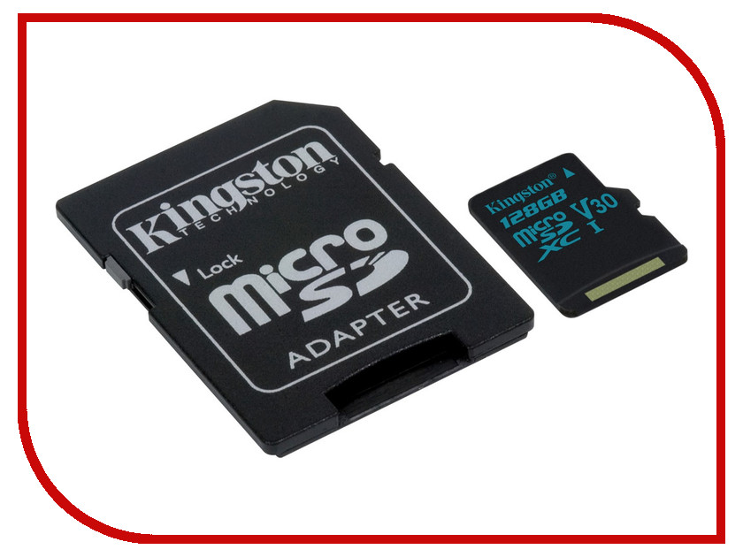 Карта памяти 128GB - Kingston microSDHC Canvas Go 90R/45W U3 UHS-I V30 Card + SD Adapter SDCG2/128GB карта памяти transflash 32гб microsdhc class 10 uhs i u3 90r 45w kingston canvas go