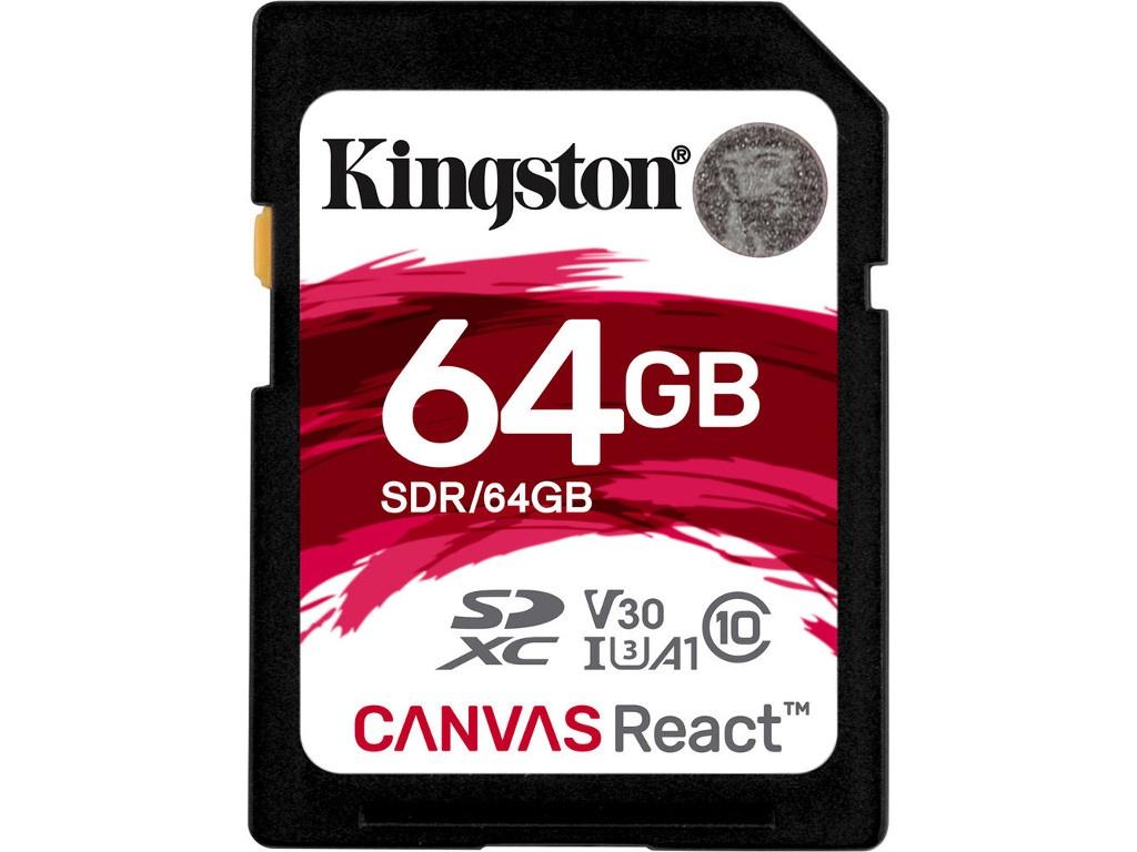 Карта памяти 64GB - Kingston SDXC Canvas React 100R/80W CL10 UHS-I U3 V30 A1 SDR/64GB карта памяти microsdxc 64gb kingston class uhs i u3 v30 canvas go адаптер [sdcg2 64gb]