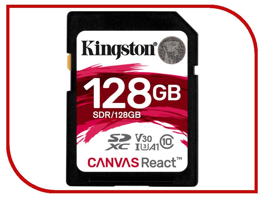 Карта памяти 128GB - Kingston SDXC Canvas React 100R/80W CL10 UHS-I U3 V30 A1 SDR/128GB карта памяти sdhc 32гб class 10 uhs i u3 100r 80w kingston canvas react