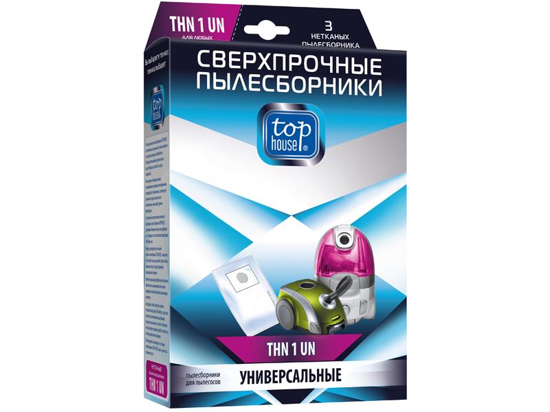Сверхпрочные Мешки пылесборные Top House THN 1 UN 3шт Для любых пылесосов 4660003392524
