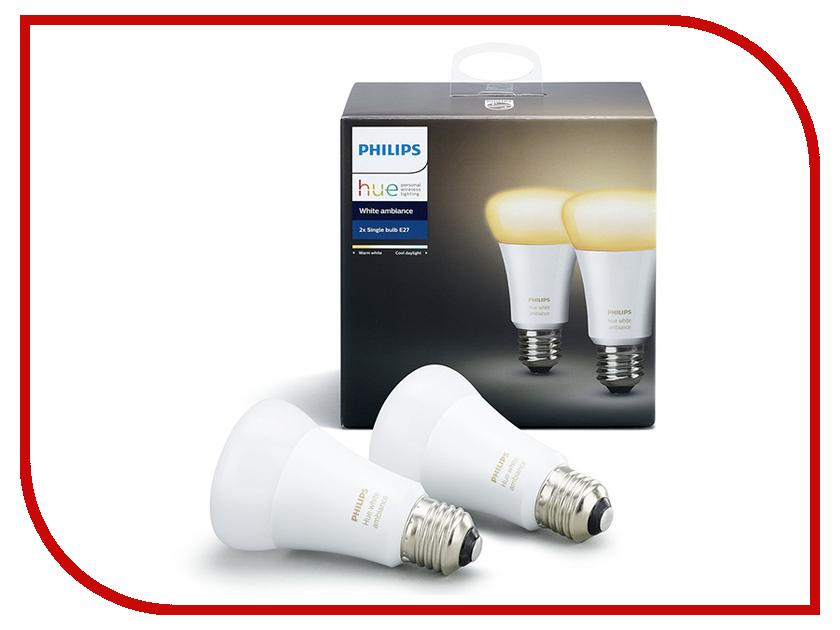 Лампочка Philips Hue White Ambiance E27 (1шт) гарнитура philips she1455 white