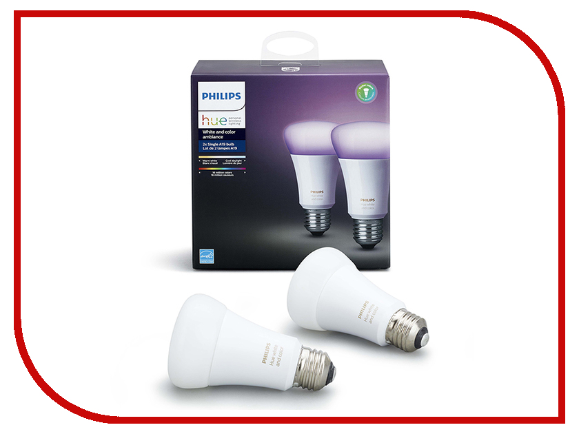 Лампочка Philips Hue White And Color Ambiance E27 (2шт) гарнитура philips she1455 white