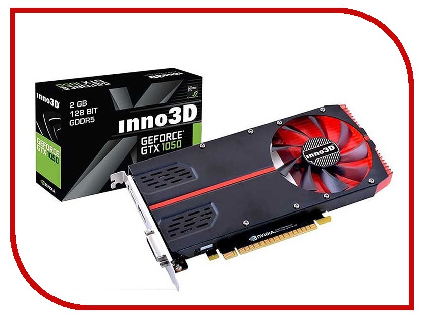 Видеокарта Inno3D GTX 1050 Compact 1354Mhz PCI-E 3.0 2048Mb 7000Mhz 128 bit DVI HDMI HDCP N10502-1SDV-E5CM видеокарта 6144mb msi geforce gtx 1060 gaming x 6g pci e 192bit gddr5 dvi hdmi dp hdcp retail