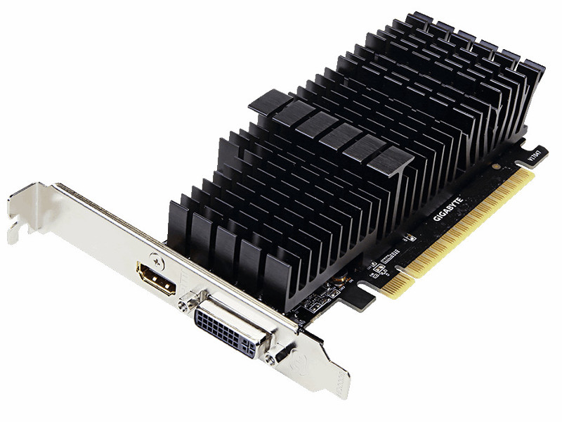 Видеокарта GIGABYTE GeForce GT 710 954Mhz PCI-E 2.0 2048Mb 5010Mhz 64 bit DVI HDMI HDCP Silent видеокарта gigabyte geforce gt 730 gv n730d5 2gl pci e 2048mb 64 bit retail