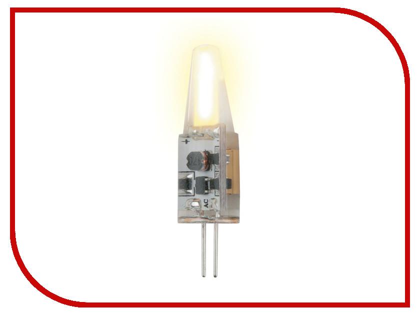 Лампочка Uniel LED-JC-12/2W/WW/G4/CL SIZ05TR jrled jrled g4 2w g4 2w 140lm 3300k in line led warm white light spotlight silver ac dc 9 24v