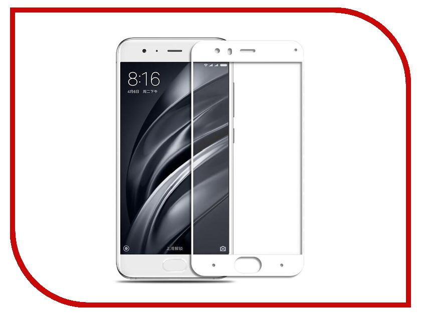 Аксессуар Стекло противоударное Xiaomi Mi6 Gurdini 2D Full Screen 0.26mm White аксессуар чехол xiaomi mi6 brosco silicone black xm mi6 tpu black