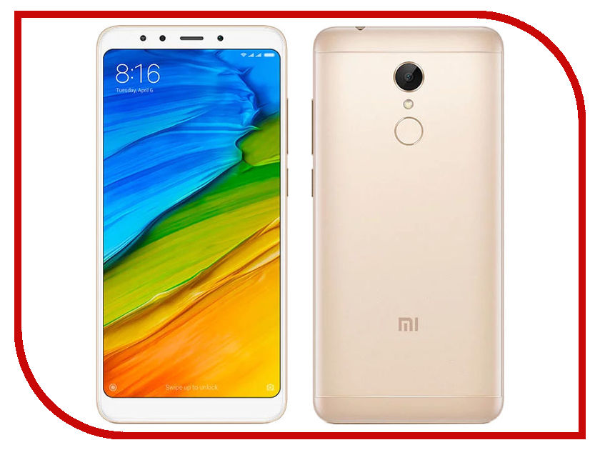Сотовый телефон Xiaomi Redmi 5 2Gb RAM 16Gb Gold сотовый телефон xiaomi redmi 5 plus 4gb ram 64gb blue