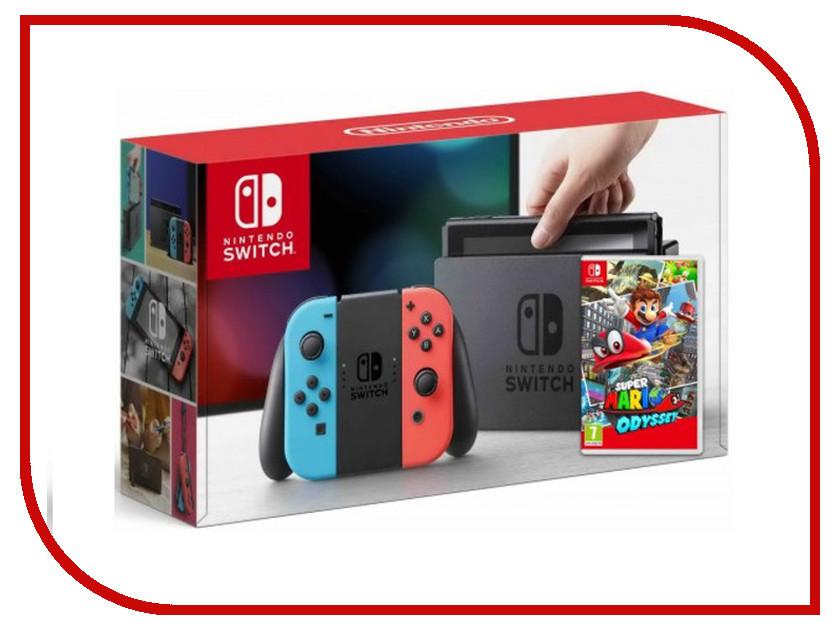 Игровая приставка Nintendo Switch Neon Red-Neon Blue + Super Mario Odyssey Bundle