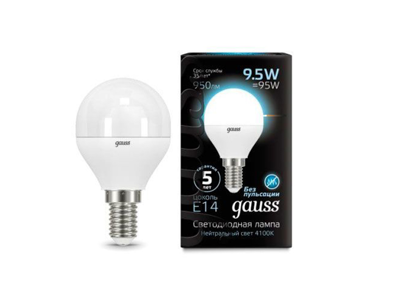 Лампочка Gauss LED Globe E14 9.5W 4100K 105101210 лампочка gauss led g4 4w ac185 265v 4100k 107307204