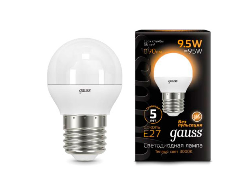 Лампочка Gauss LED Globe E27 9.5W 3000K 105102110