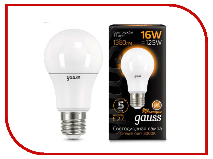 Лампочка Gauss LED 16W A60 E27 3000K 102502116 цена