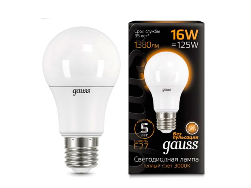 Лампочка Gauss LED E27 16W A60 3000K 102502116