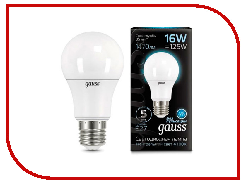 Лампочка Gauss LED 16W A60 E27 4100K 102502216 цена