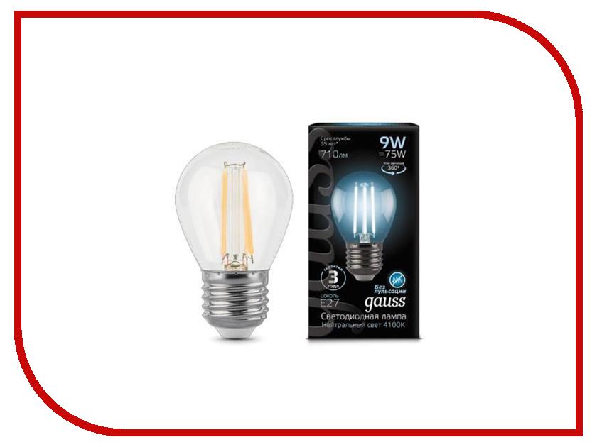 Лампочка Gauss LED Filament Globe E27 9W 4100K 105802209 цена 2017